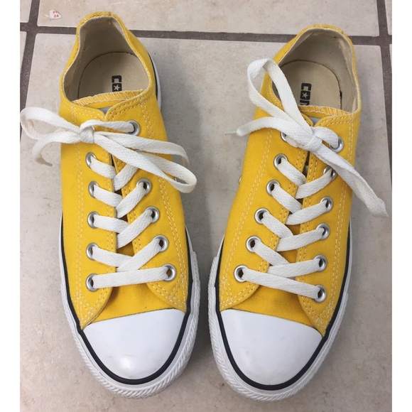 72d39c0eeb43 Converse Shoes - Converse Yellow All Star Low Tops with New Laces!